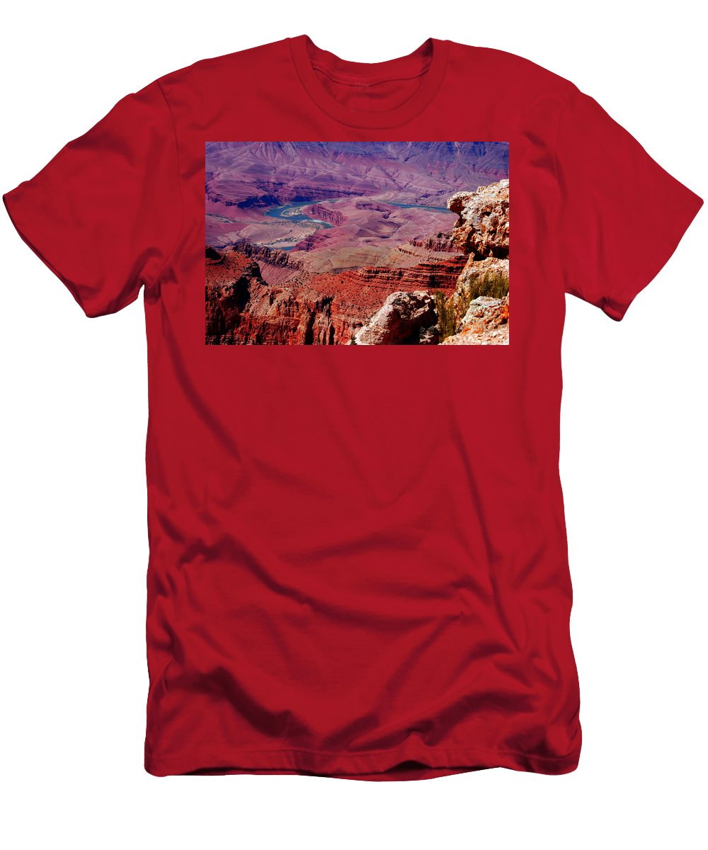Grand Canyon Men's T-Shirt (Athletic Fit) featuring the photograph The Path Of The Colorado River by Susanne Van Hulst