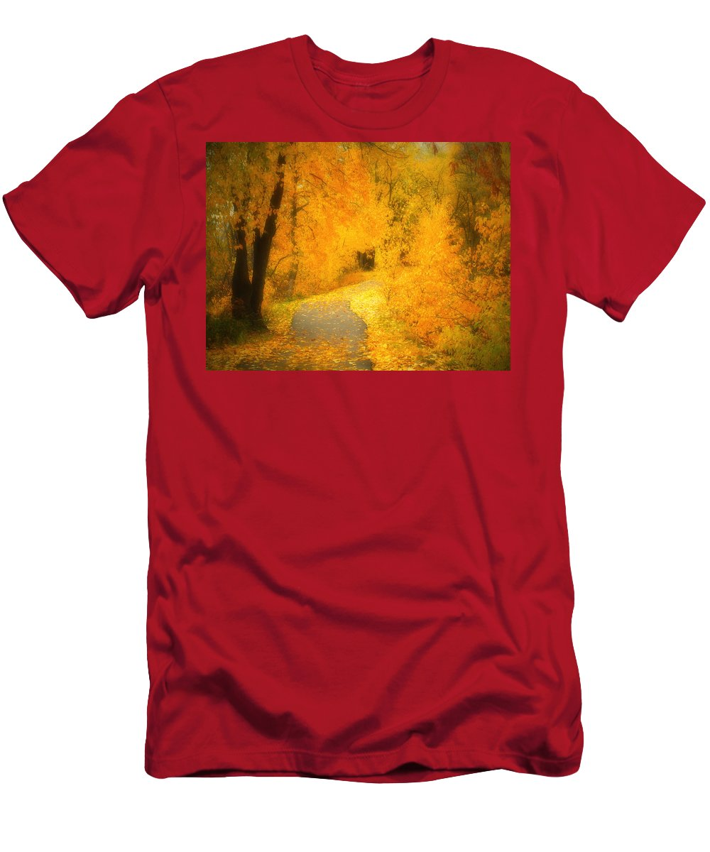 Autumn Men's T-Shirt (Athletic Fit) featuring the photograph The Pathway Of Fallen Leaves by Tara Turner