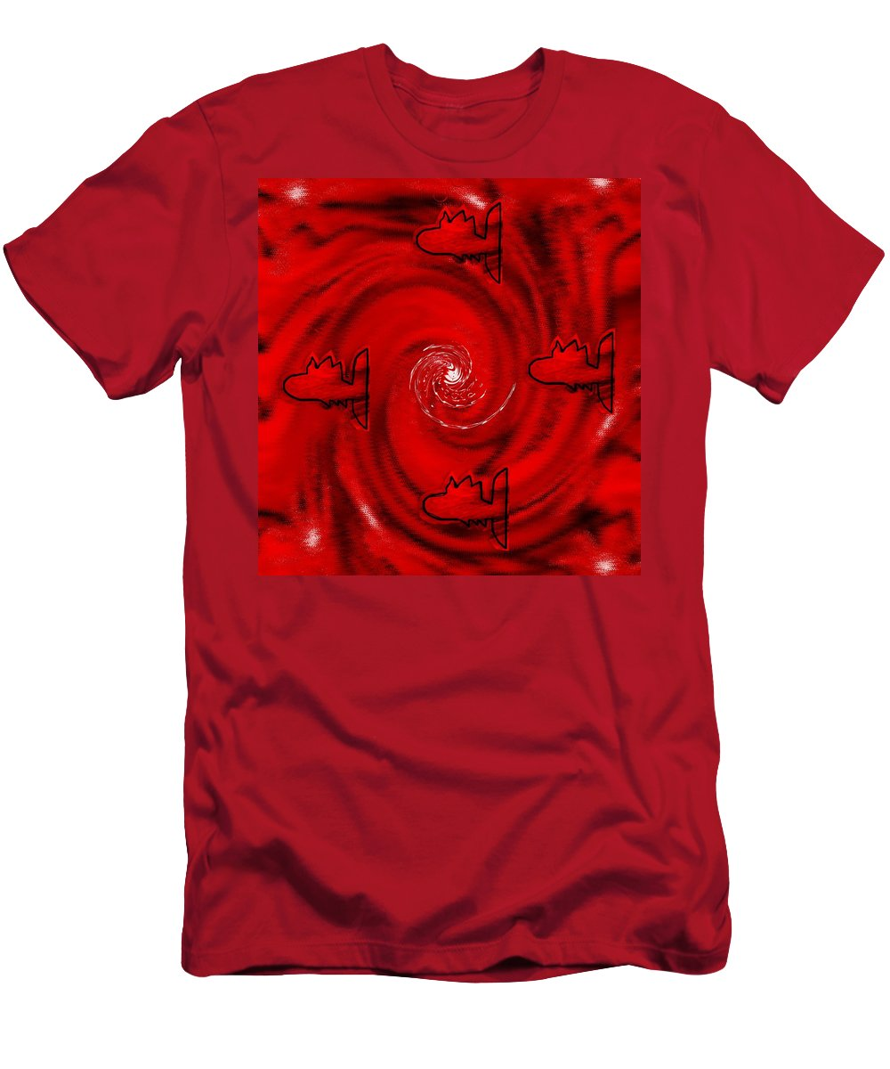 Fishes Men's T-Shirt (Athletic Fit) featuring the mixed media The Red Sea by Pepita Selles