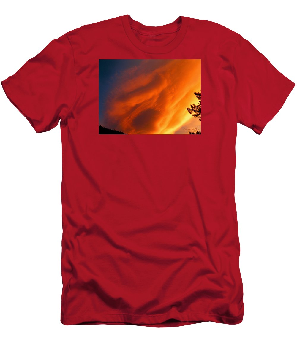 Sunset Sunrise Big Sky Colorado Clouds Colorful T-Shirt featuring the photograph The sky is burning by George Tuffy