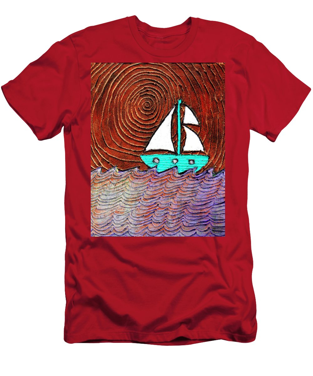 Sailing Men's T-Shirt (Athletic Fit) featuring the painting The Sky Was Bronze That Night by Wayne Potrafka