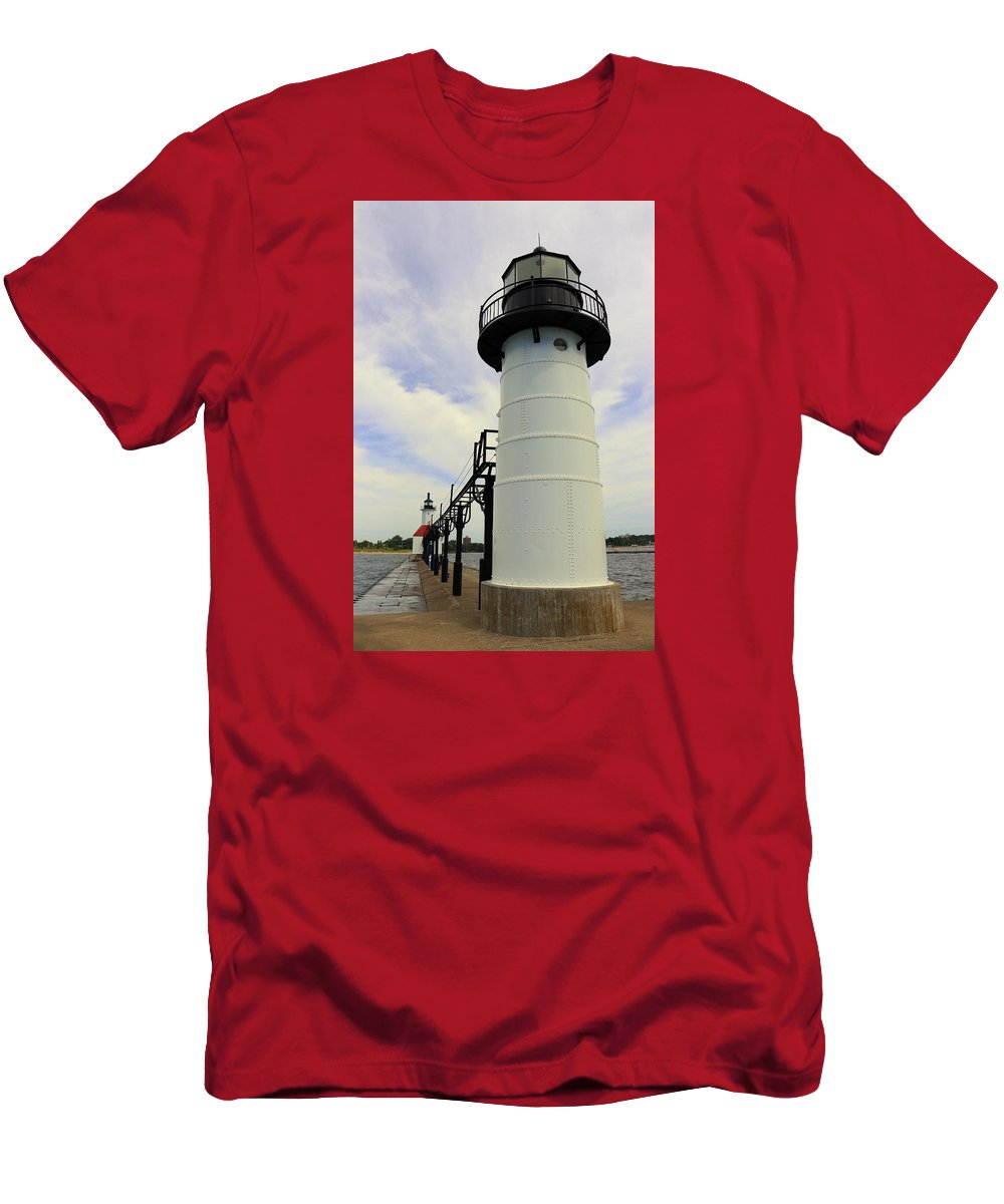 St. Joseph Men's T-Shirt (Athletic Fit) featuring the photograph The St. Joseph Lighthouses In Michigan by Anita Hiltz