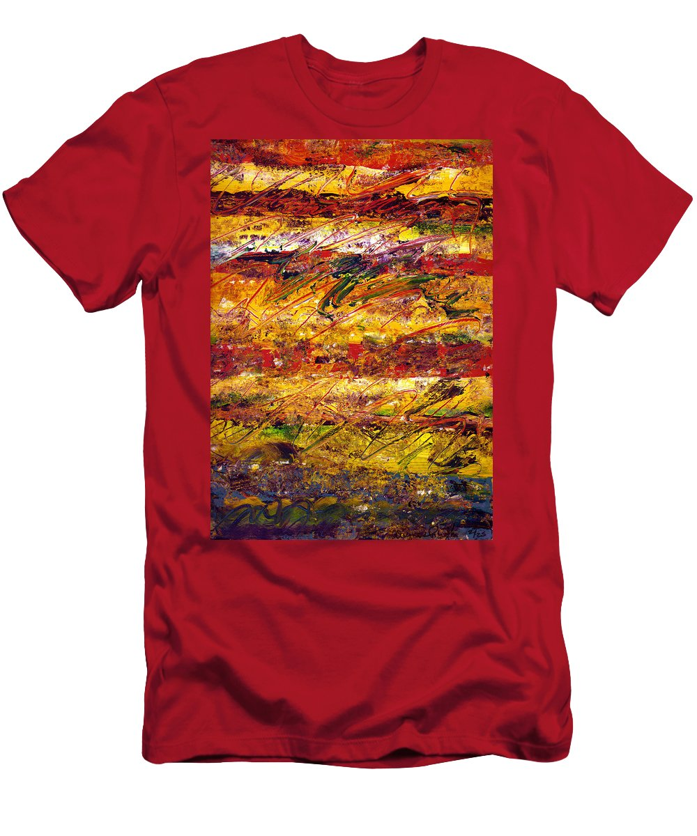 Abstract Men's T-Shirt (Athletic Fit) featuring the painting The Sun Rose One Step At A Time by Wayne Potrafka