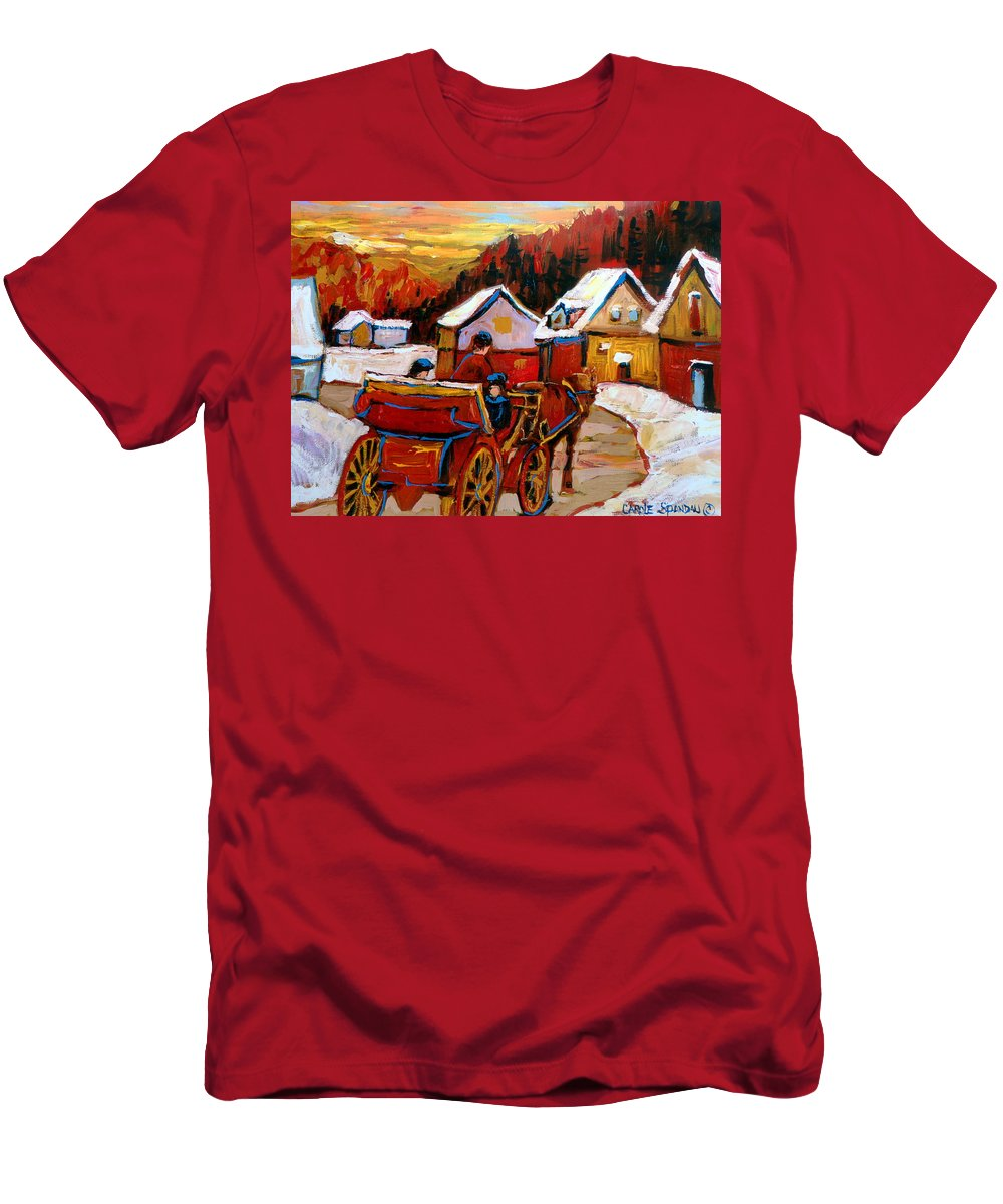 Saint Jerome Men's T-Shirt (Athletic Fit) featuring the painting The Village Of Saint Jerome by Carole Spandau