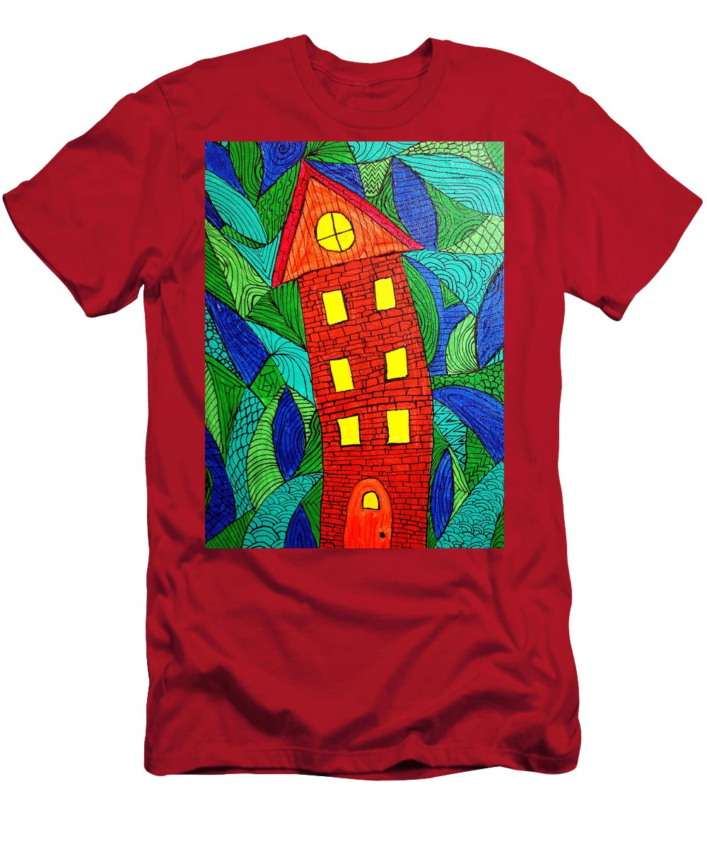 Geometric Patterns Men's T-Shirt (Athletic Fit) featuring the painting There Was A Crooked House by Wayne Potrafka