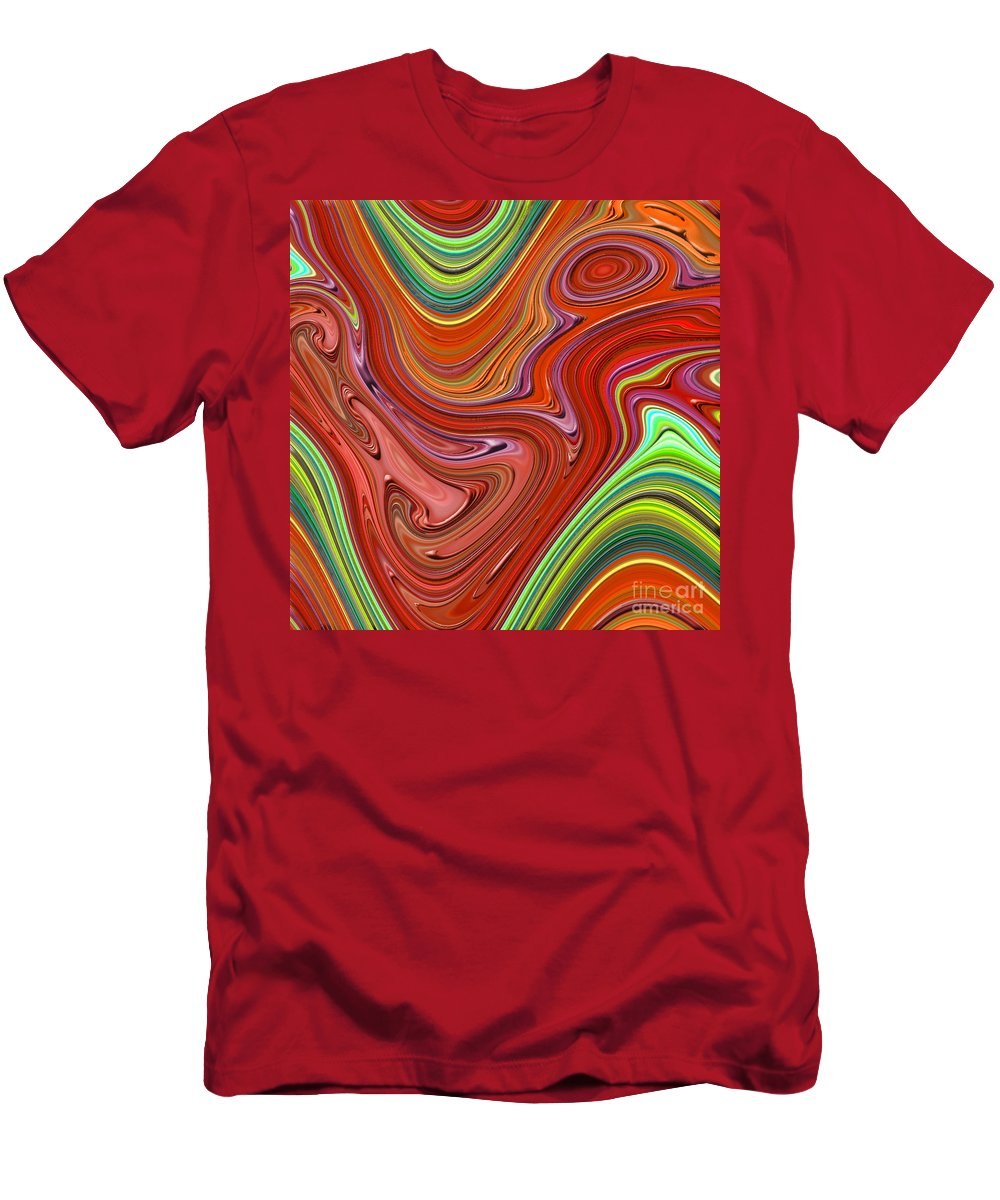 Colorful Men's T-Shirt (Athletic Fit) featuring the digital art Thick Paint Orange Abstract by Melissa A Benson