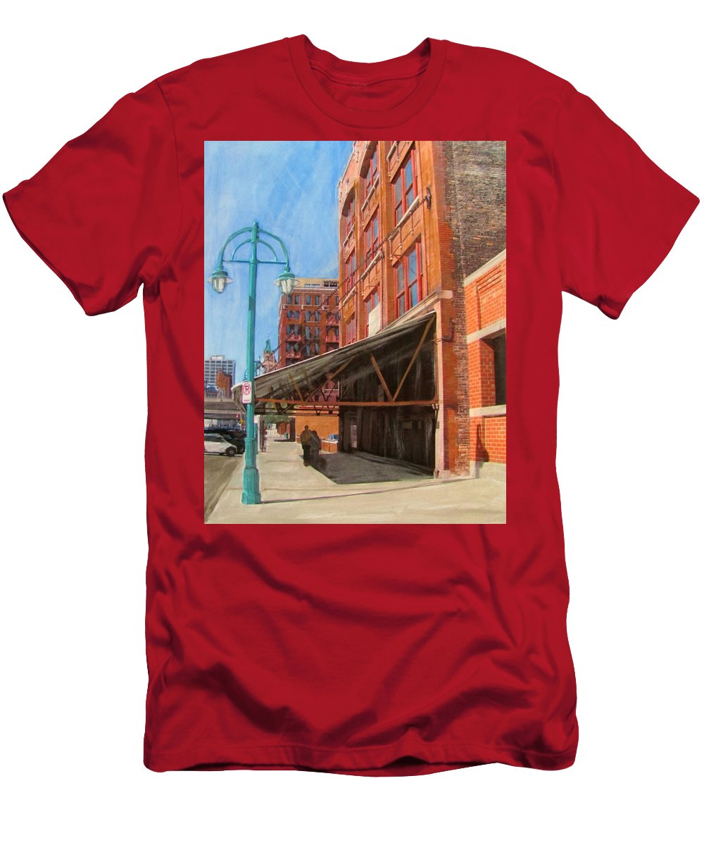Milwaukee Men's T-Shirt (Athletic Fit) featuring the mixed media Third Ward - Broadway Awning by Anita Burgermeister