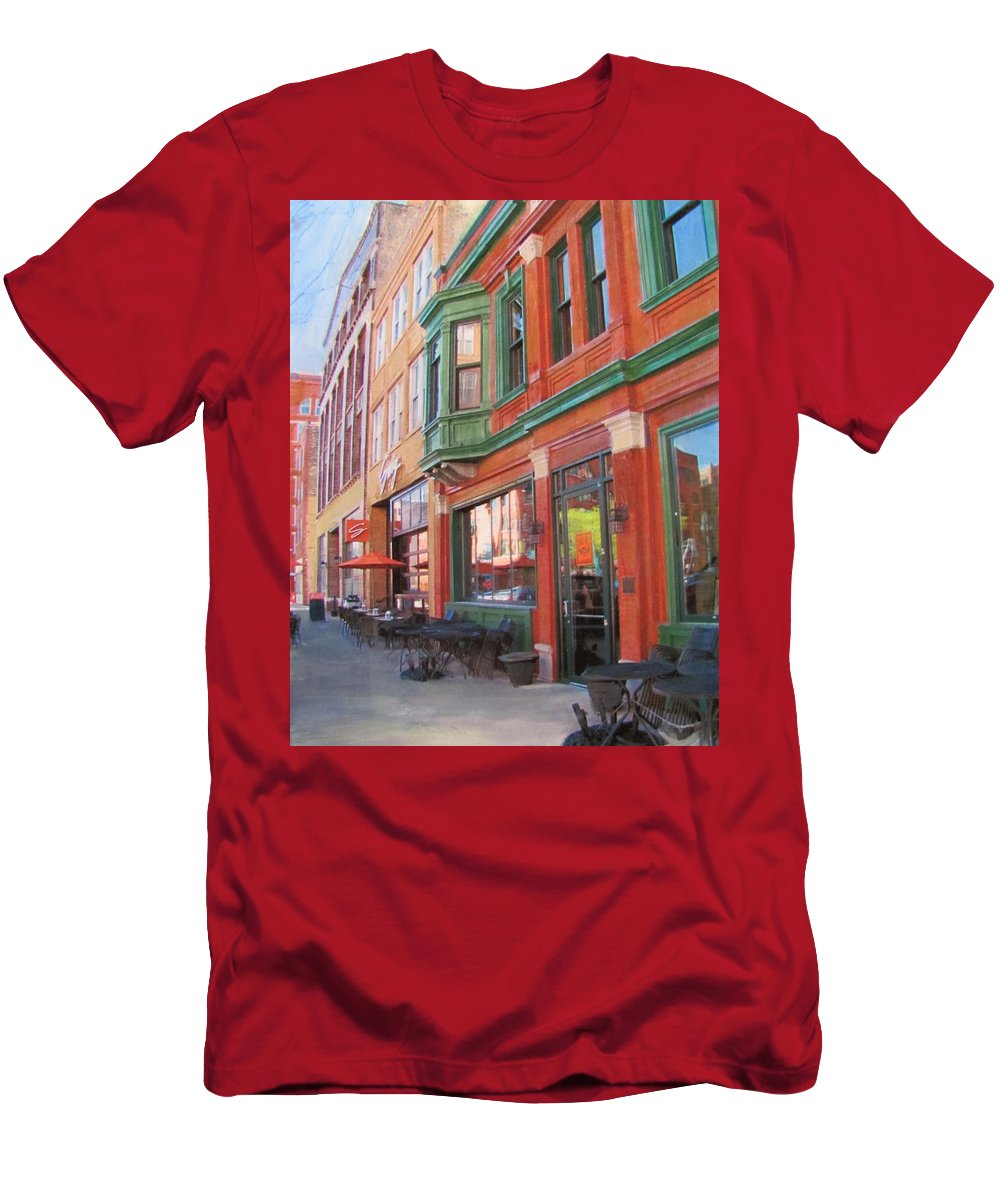Milwaukee Men's T-Shirt (Athletic Fit) featuring the mixed media Third Ward - Swig And Palm by Anita Burgermeister