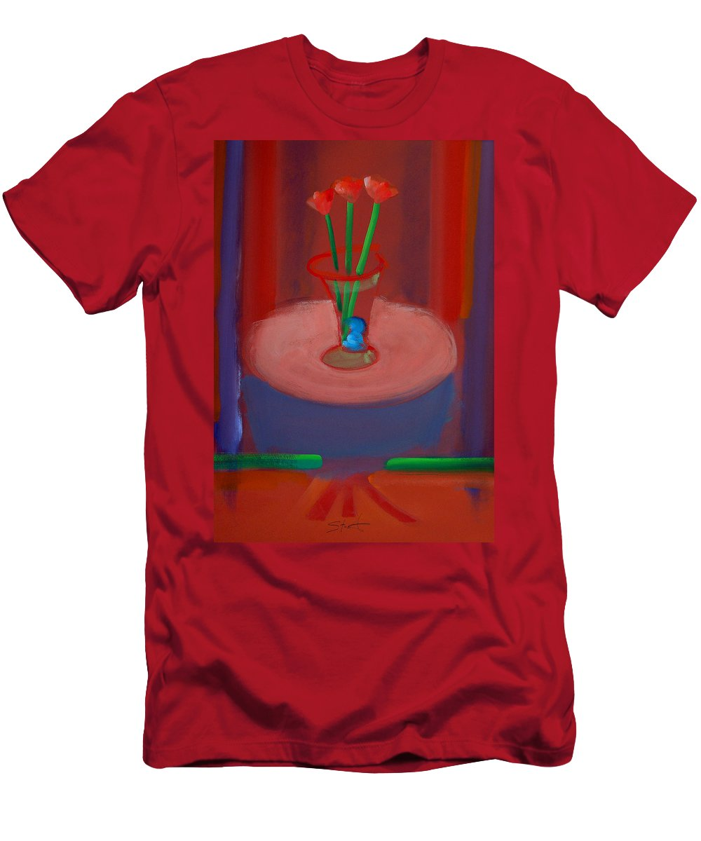 Poppies Men's T-Shirt (Athletic Fit) featuring the painting Three Poppies In A Vase by Charles Stuart