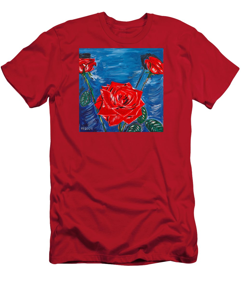 Rose Men's T-Shirt (Athletic Fit) featuring the painting Three Red Roses Four Leaves by Valerie Ornstein