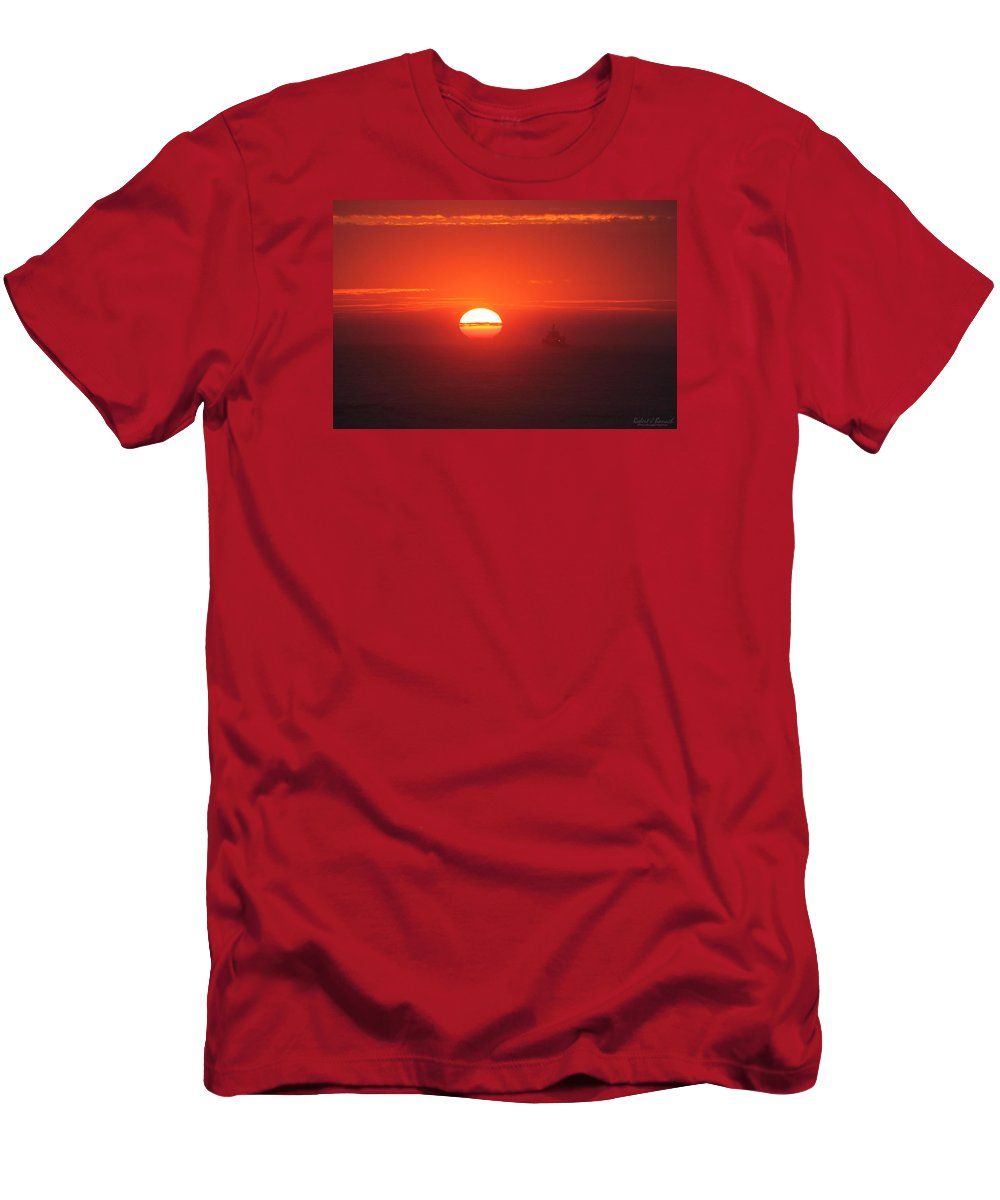 Sun Men's T-Shirt (Athletic Fit) featuring the photograph Through The Mist by Robert Banach