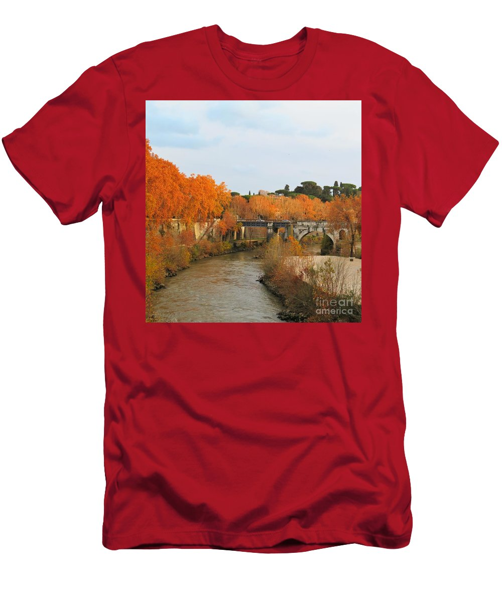 Rome T-Shirt featuring the photograph Tiber River In Autumn 2 by Laurie Morgan