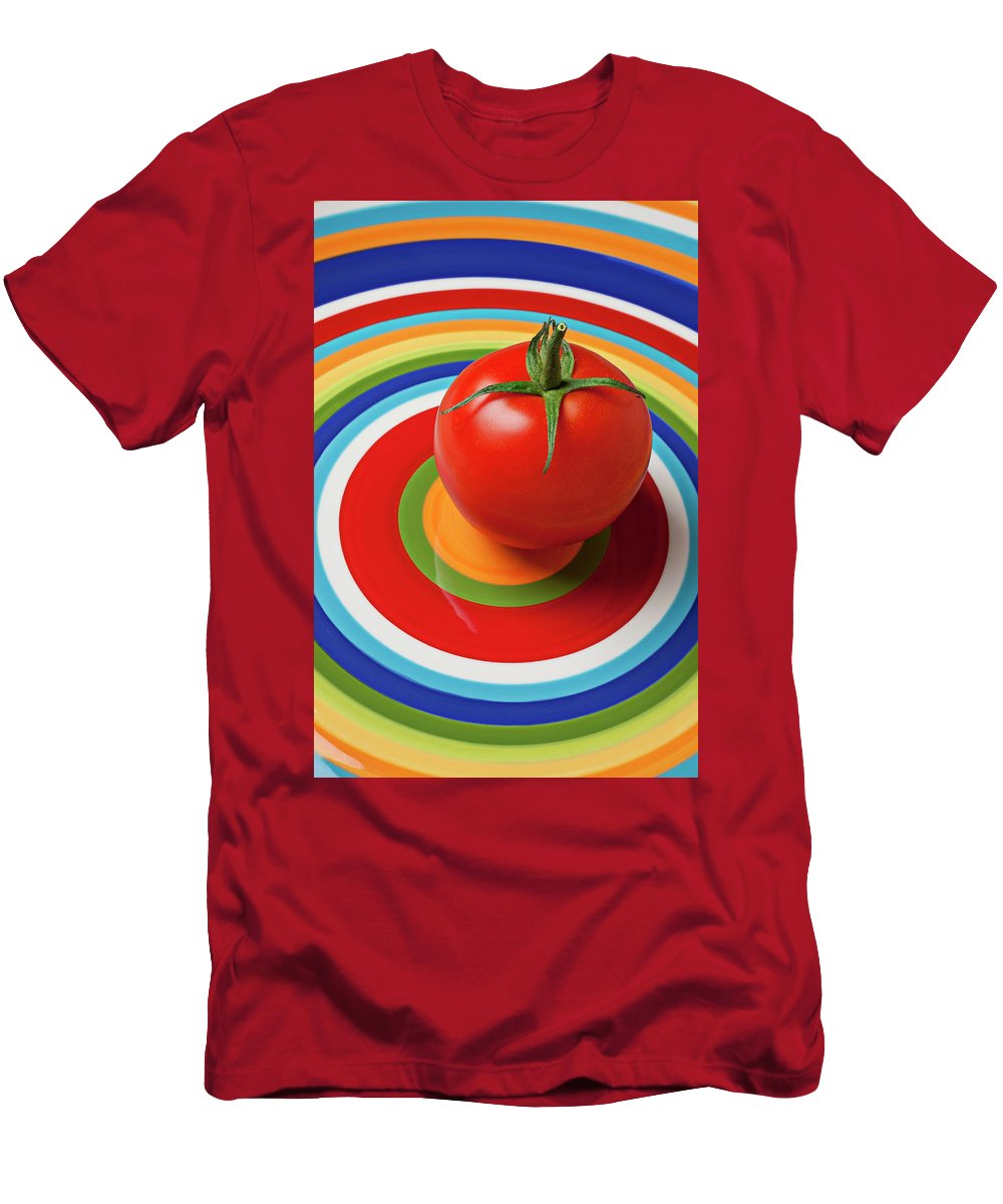 Tomato Plate Circle Food Fruit Men's T-Shirt (Athletic Fit) featuring the photograph Tomato On Plate With Circles by Garry Gay