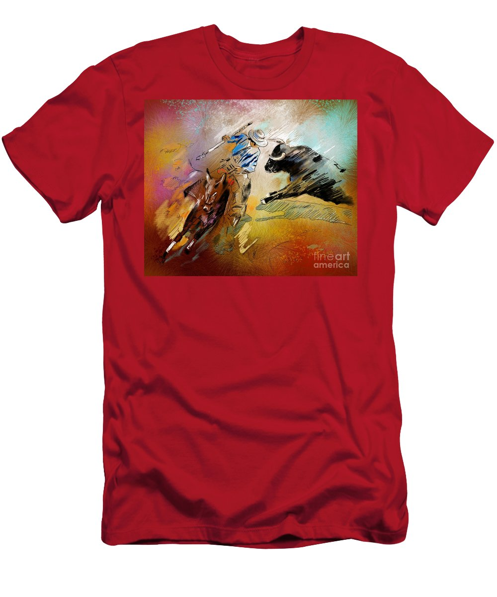 Bullfight Men's T-Shirt (Athletic Fit) featuring the painting Toroscape 42 by Miki De Goodaboom