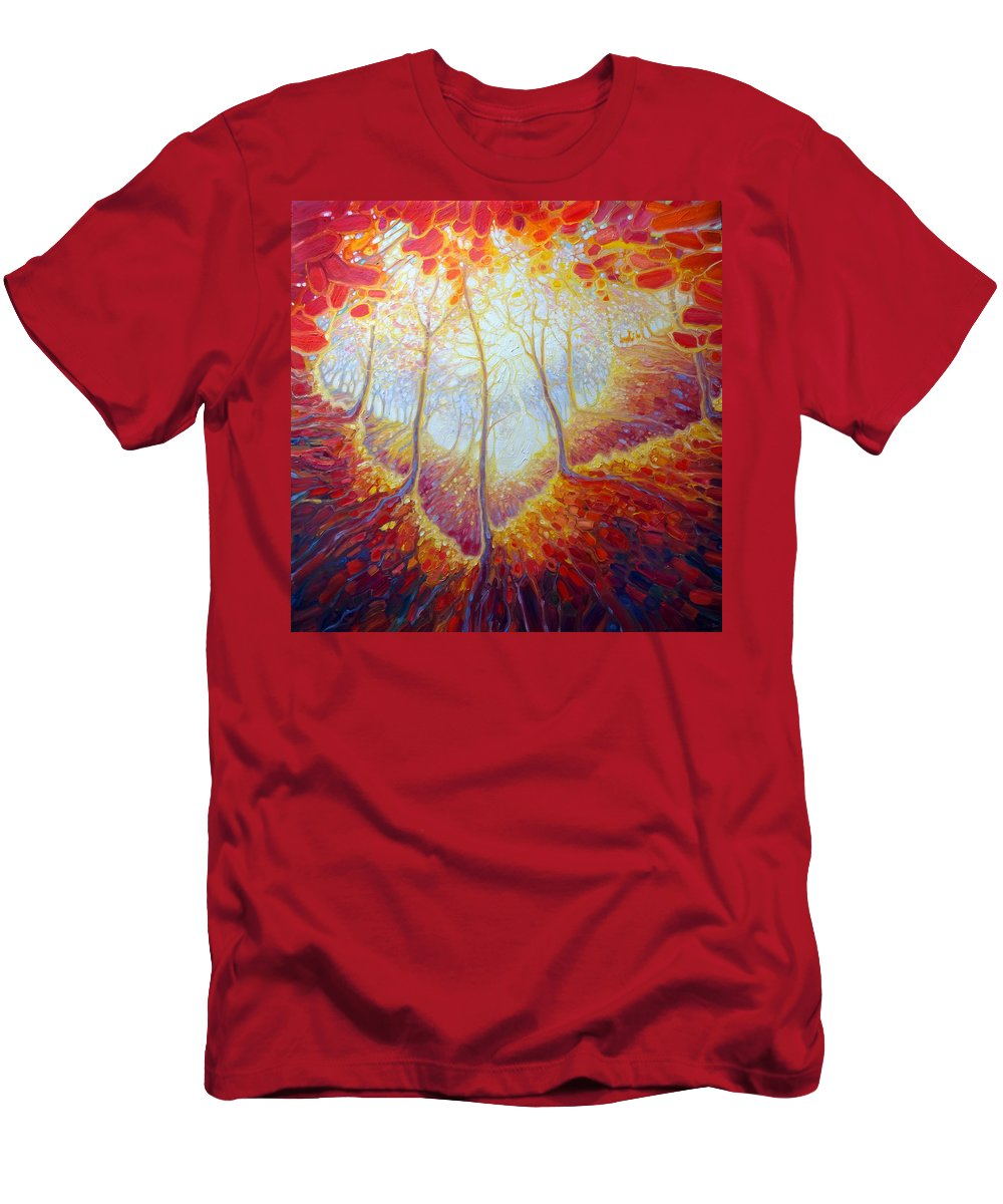 Deer In Forest Men's T-Shirt (Athletic Fit) featuring the painting Transference Of Life by Gill Bustamante