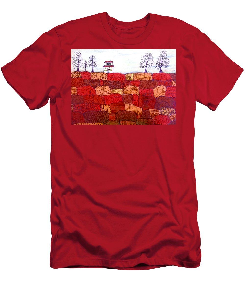 Farm Men's T-Shirt (Athletic Fit) featuring the painting Tree Farm by Wayne Potrafka