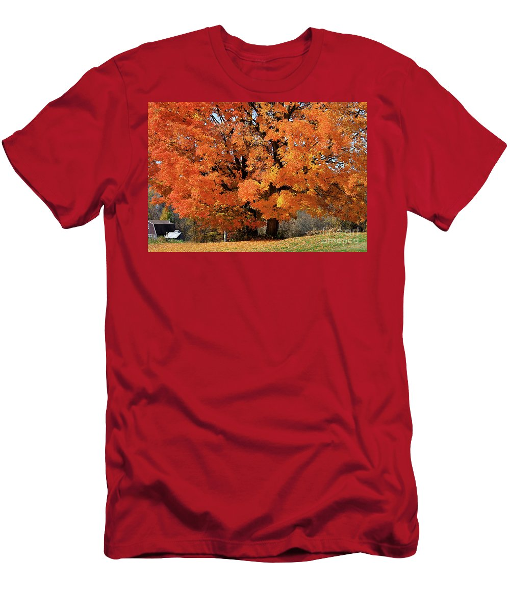 Autumn Men's T-Shirt (Athletic Fit) featuring the photograph Tree On Fire by Deborah Benoit