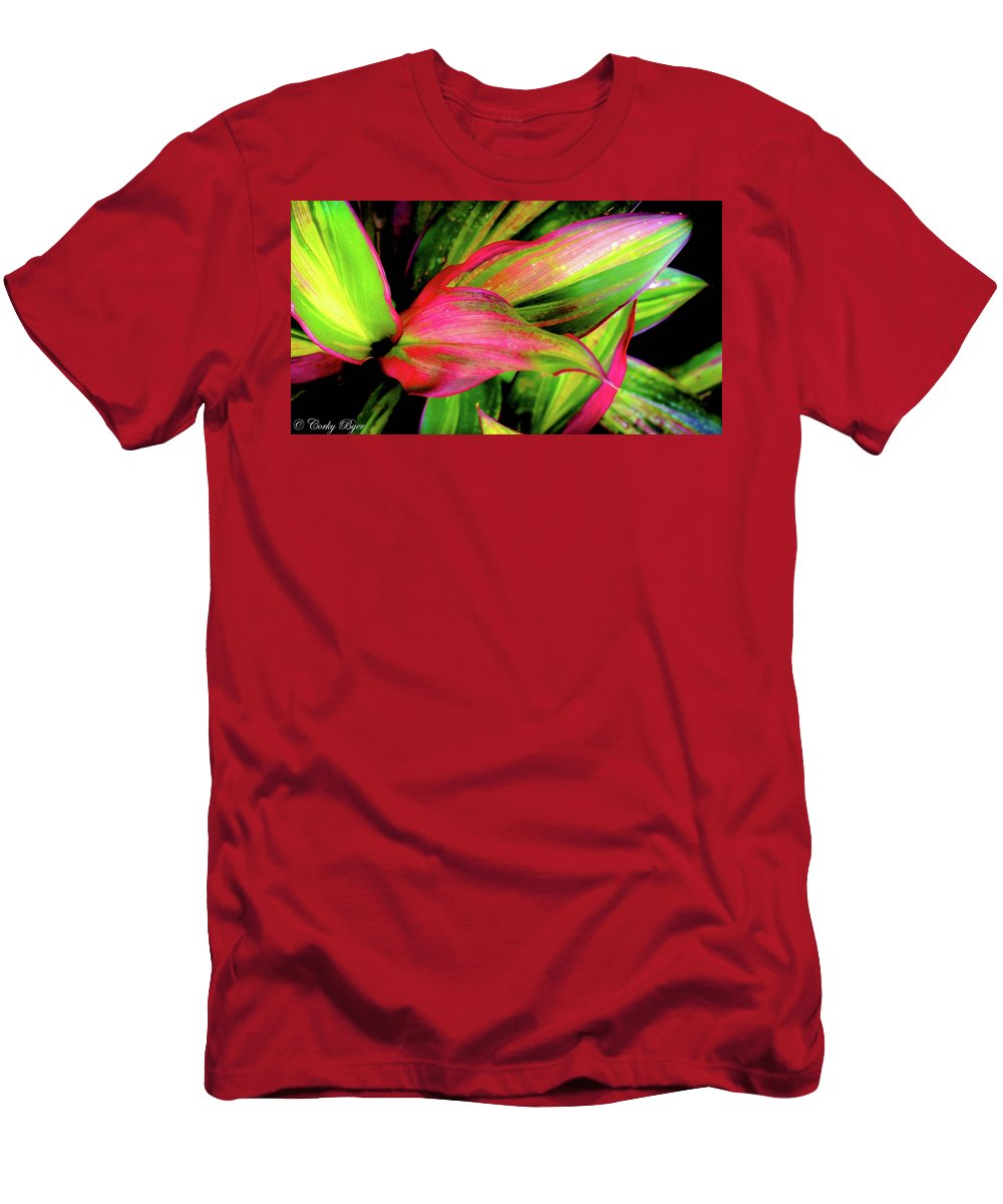 Flower Men's T-Shirt (Athletic Fit) featuring the photograph Tri-color Leaves by Corky Byer