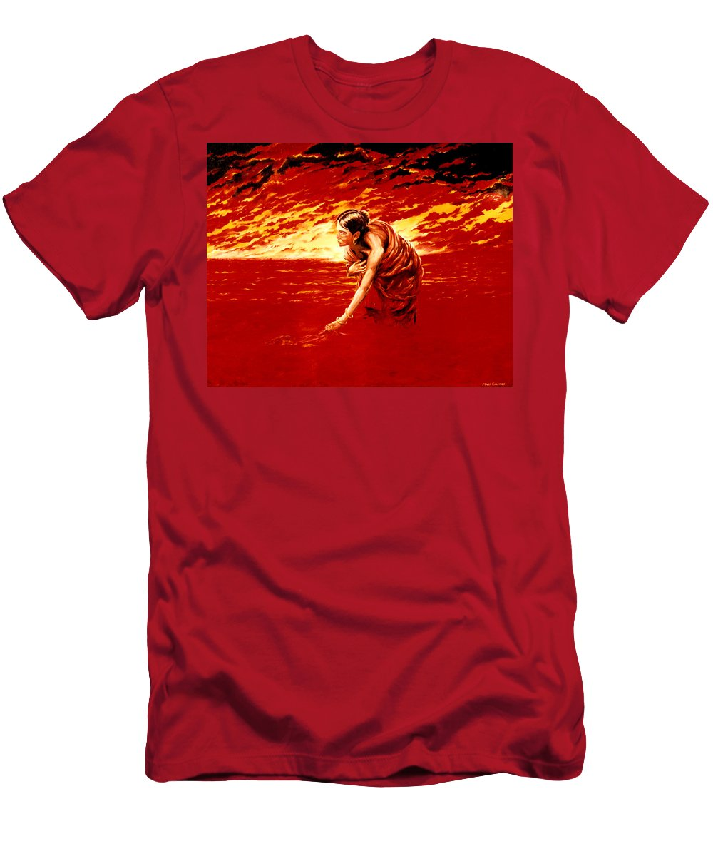 Seascape Men's T-Shirt (Athletic Fit) featuring the painting Tsunami by Mark Cawood