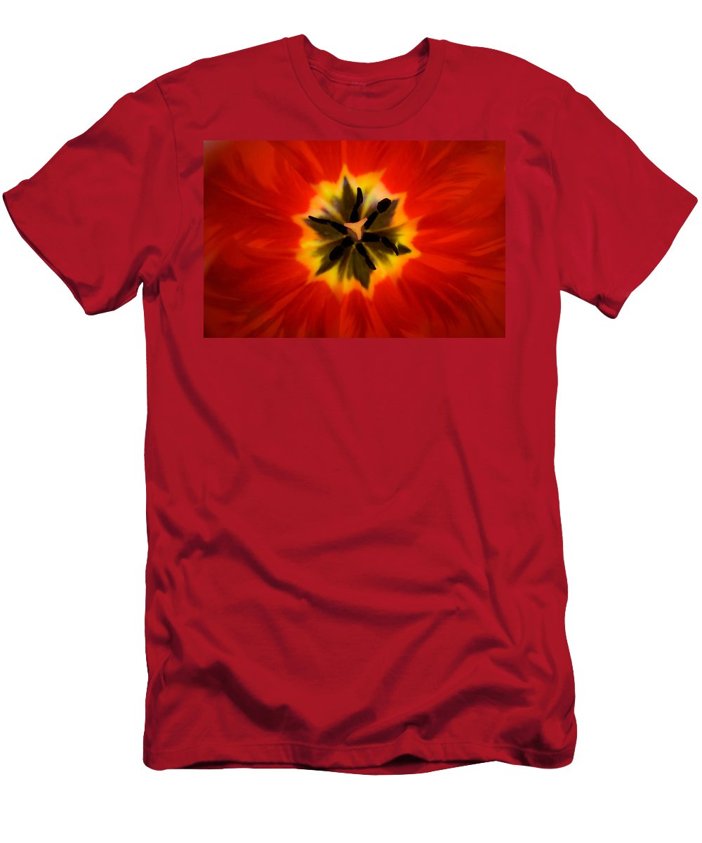 Tulip Men's T-Shirt (Athletic Fit) featuring the photograph Tulip Explosion Kaleidoscope by Teresa Mucha