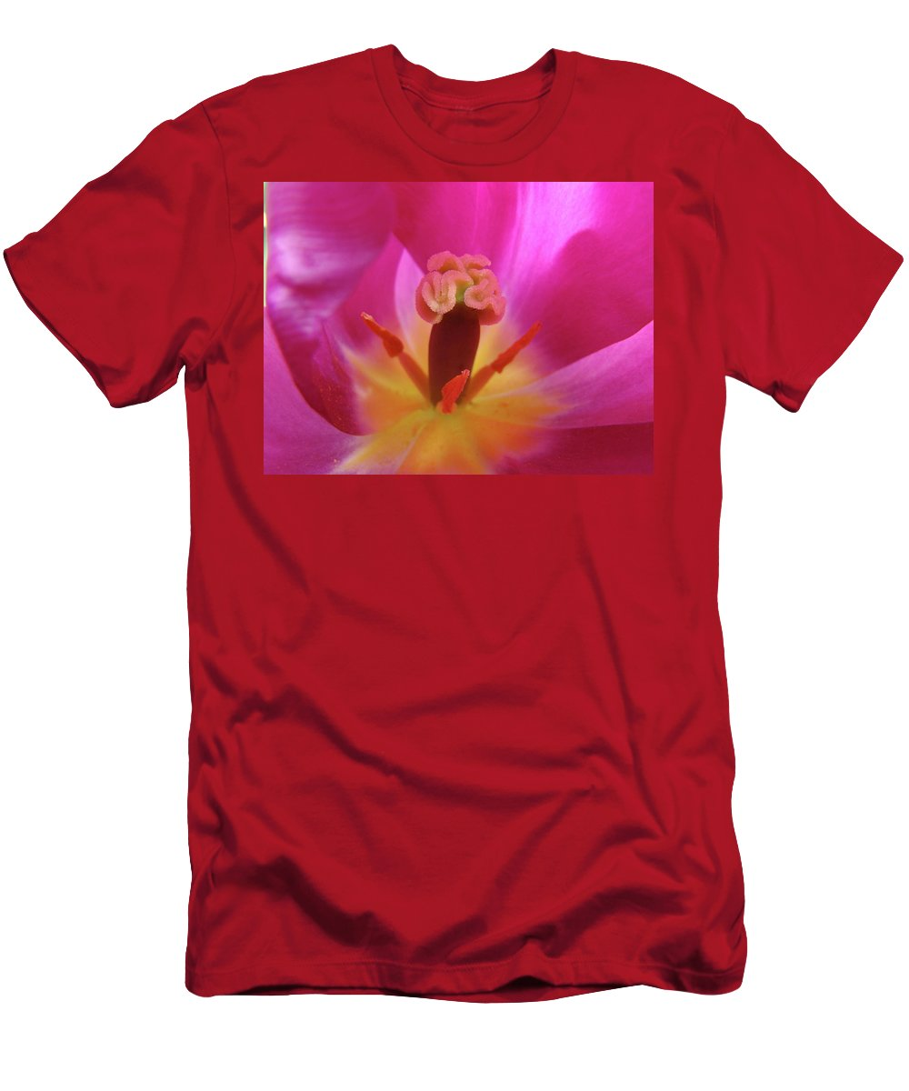 �tulips Artwork� Men's T-Shirt (Athletic Fit) featuring the photograph Tulips Artwork Pink Purple Tuli Flower Art Prints Spring Garden Nature by Baslee Troutman