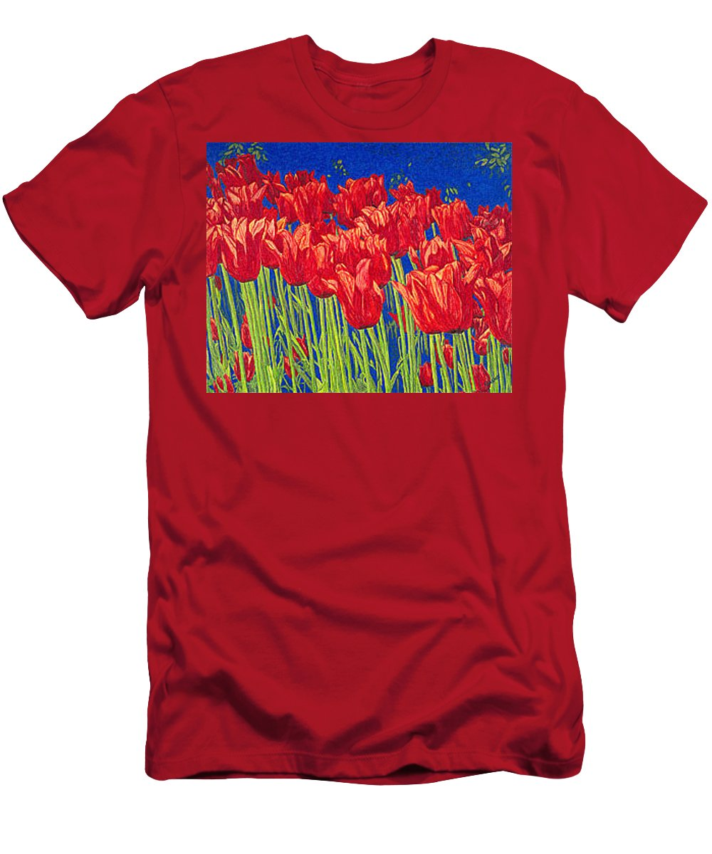 Tulips Men's T-Shirt (Athletic Fit) featuring the drawing Tulips Tulip Flowers Fine Art Print Giclee High Quality Exceptional Color Garden Nature Botanical by Baslee Troutman