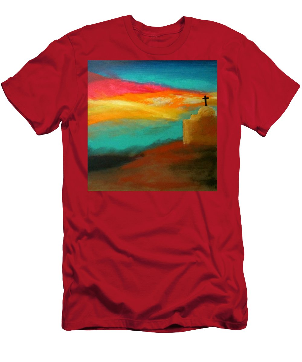 Southwest Men's T-Shirt (Athletic Fit) featuring the painting Turquoise Trail Sunset by Keith Thue