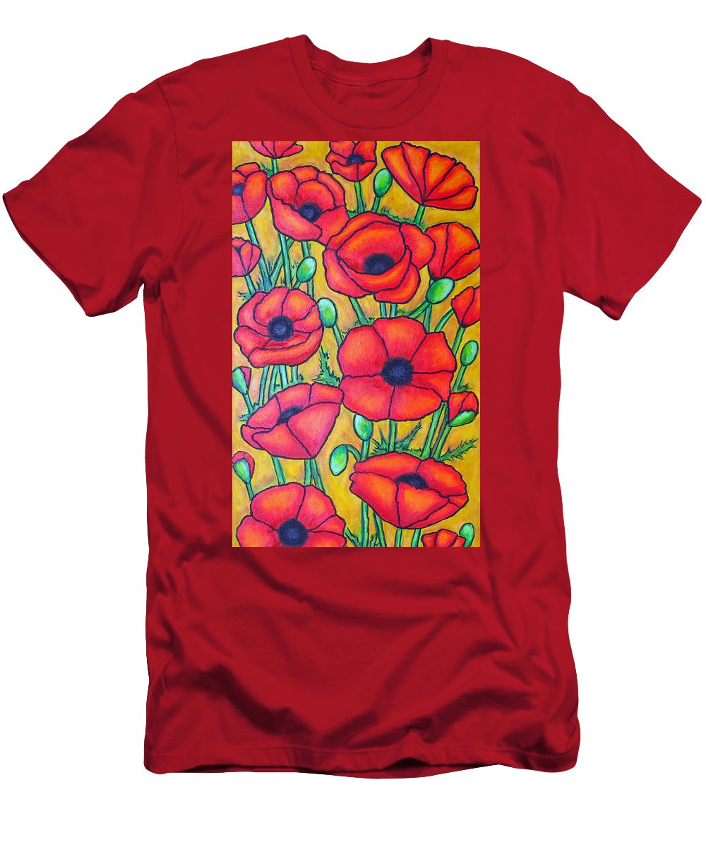 Poppies Men's T-Shirt (Athletic Fit) featuring the painting Tuscan Poppies - Crop 1 by Lisa Lorenz