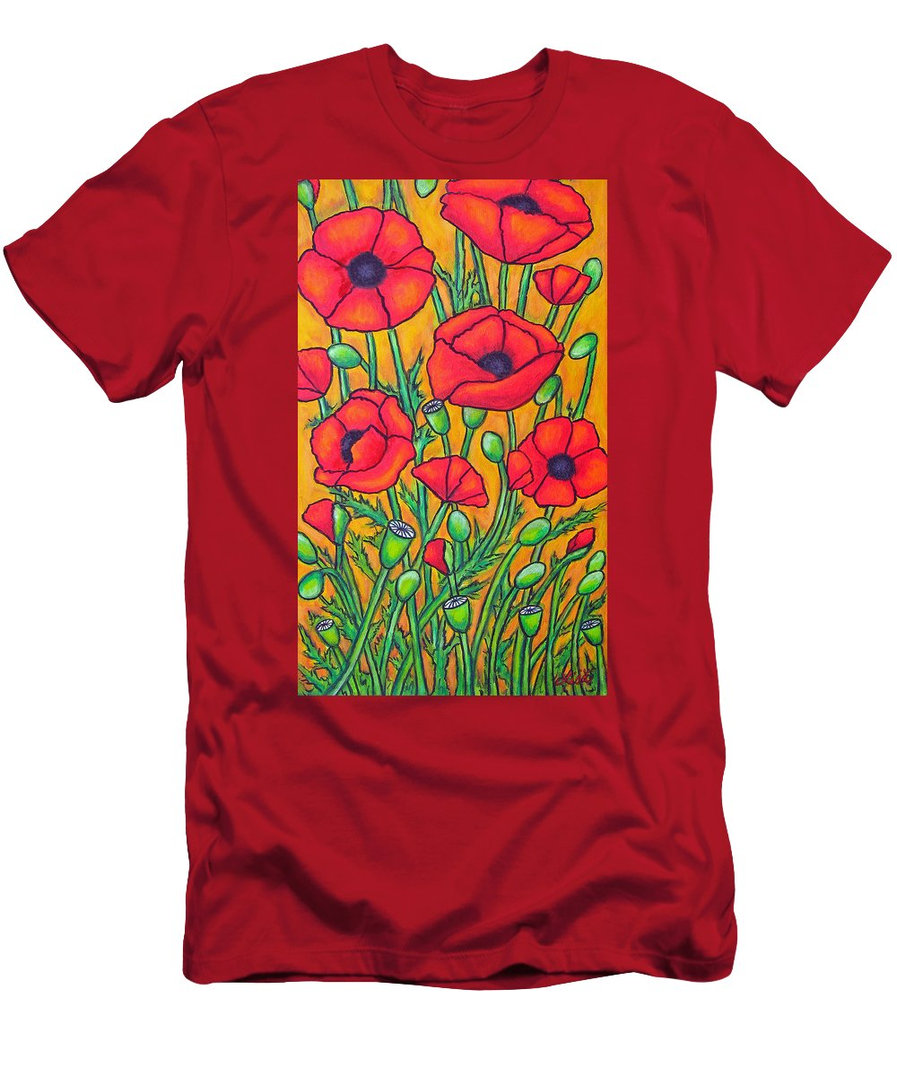 Poppies Men's T-Shirt (Athletic Fit) featuring the painting Tuscan Poppies - Crop 2 by Lisa Lorenz