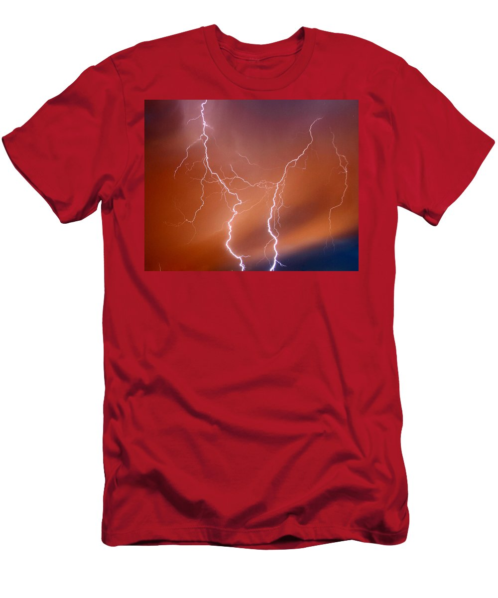 Lightning Men's T-Shirt (Athletic Fit) featuring the photograph Twin Strike by Anthony Jones