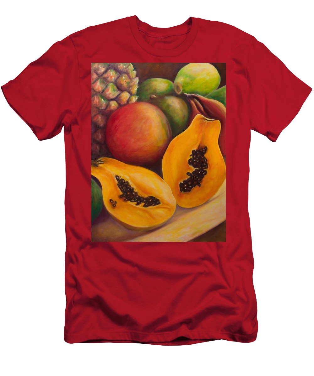 Papaya T-Shirt featuring the painting Twins by Shannon Grissom