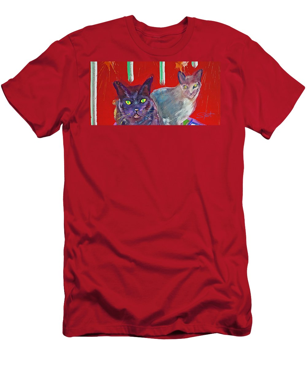 Cat Men's T-Shirt (Athletic Fit) featuring the painting Two Posh Cats by Charles Stuart