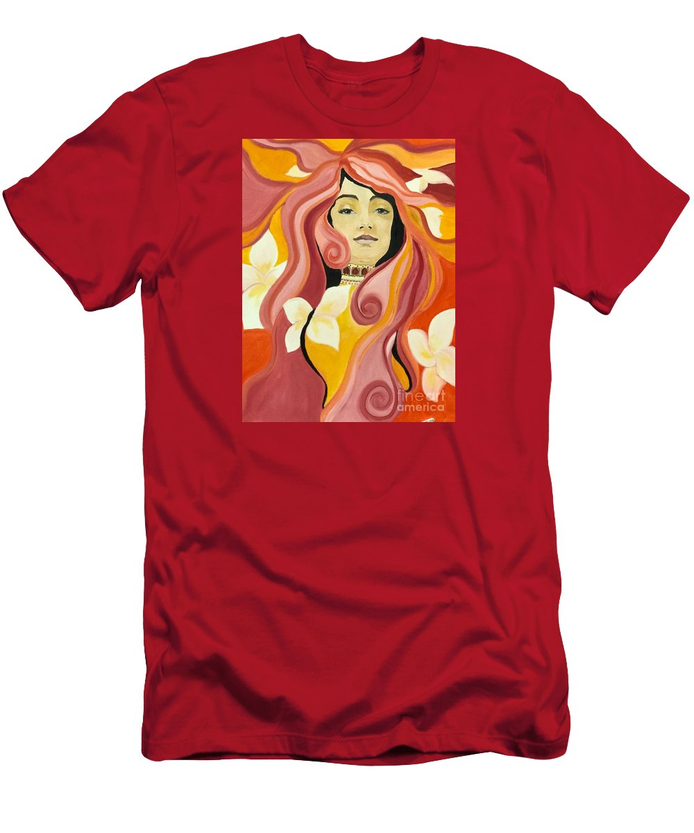 Art Men's T-Shirt (Athletic Fit) featuring the painting Under The Influence Of Alphonse Mucha by Boni Arendt