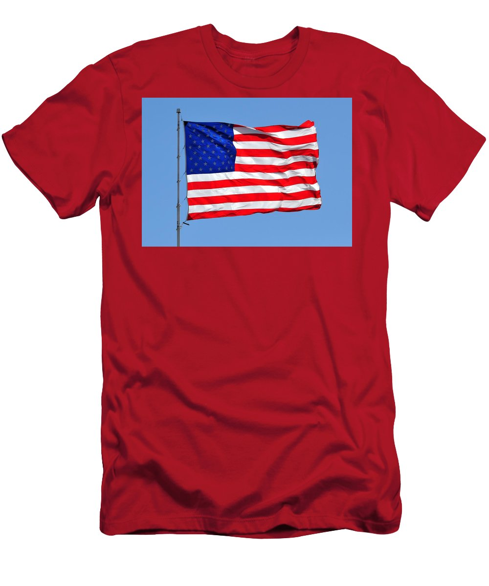 American Flag Men's T-Shirt (Athletic Fit) featuring the photograph United We Stand United We Fall by Ruben Barbosa