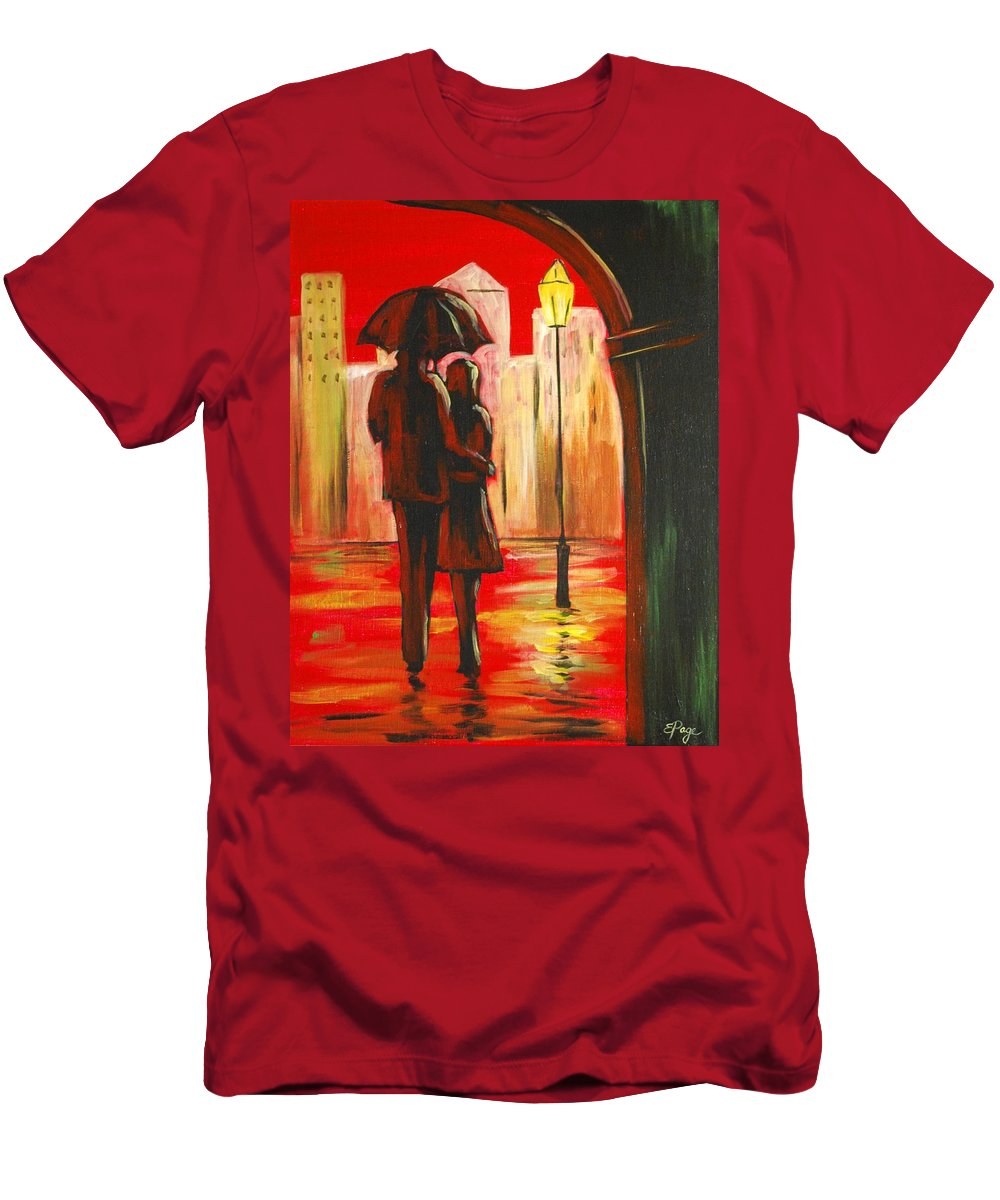 Romance Men's T-Shirt (Athletic Fit) featuring the painting Urban Romance by Emily Page