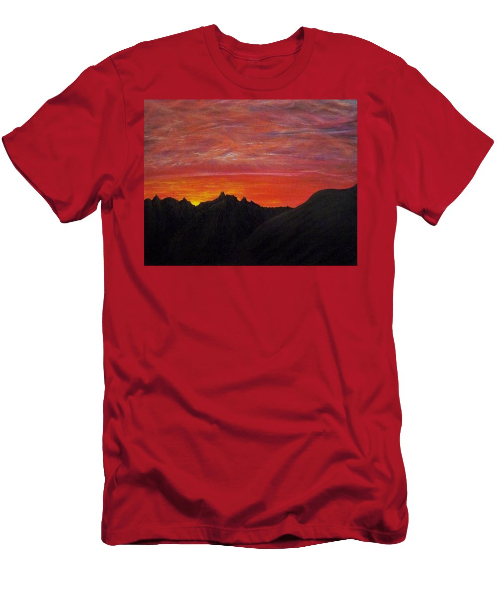 Sunset Men's T-Shirt (Athletic Fit) featuring the painting Utah Sunset by Michael Cuozzo