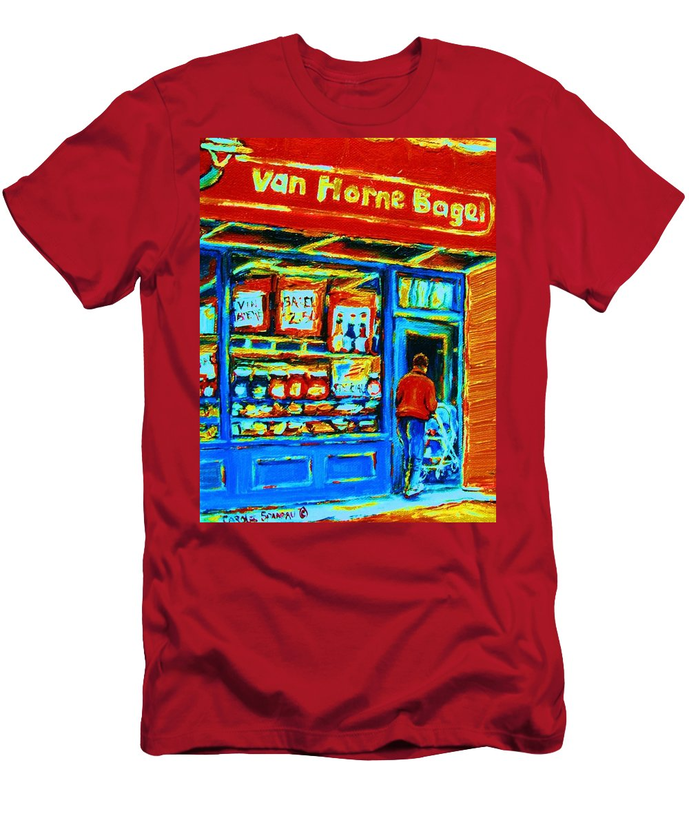Van Horne Bagel Men's T-Shirt (Athletic Fit) featuring the painting Van Horne Bagel by Carole Spandau