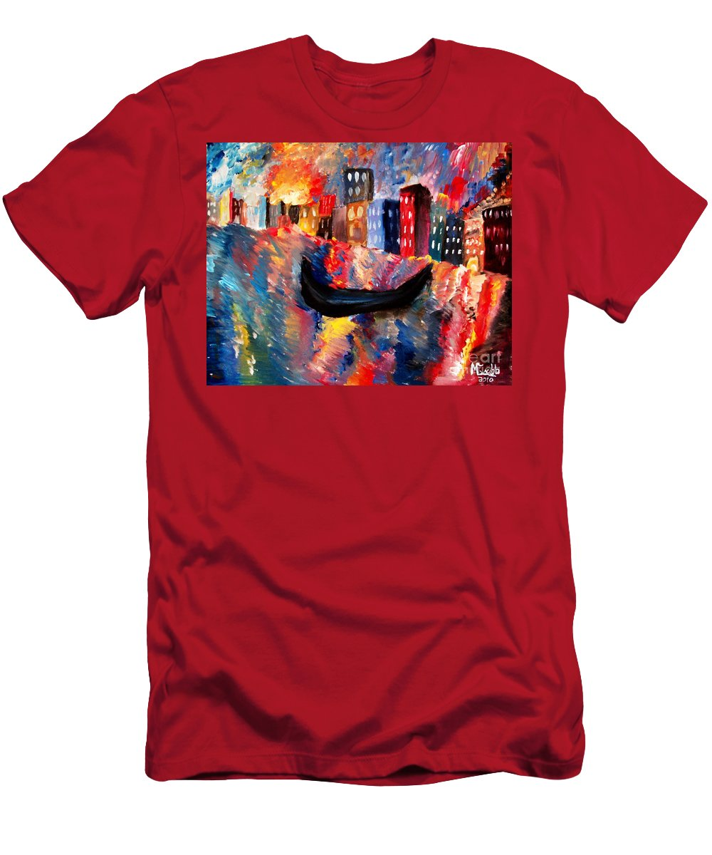 Venice Men's T-Shirt (Athletic Fit) featuring the painting Venice By Night by Michael Grubb