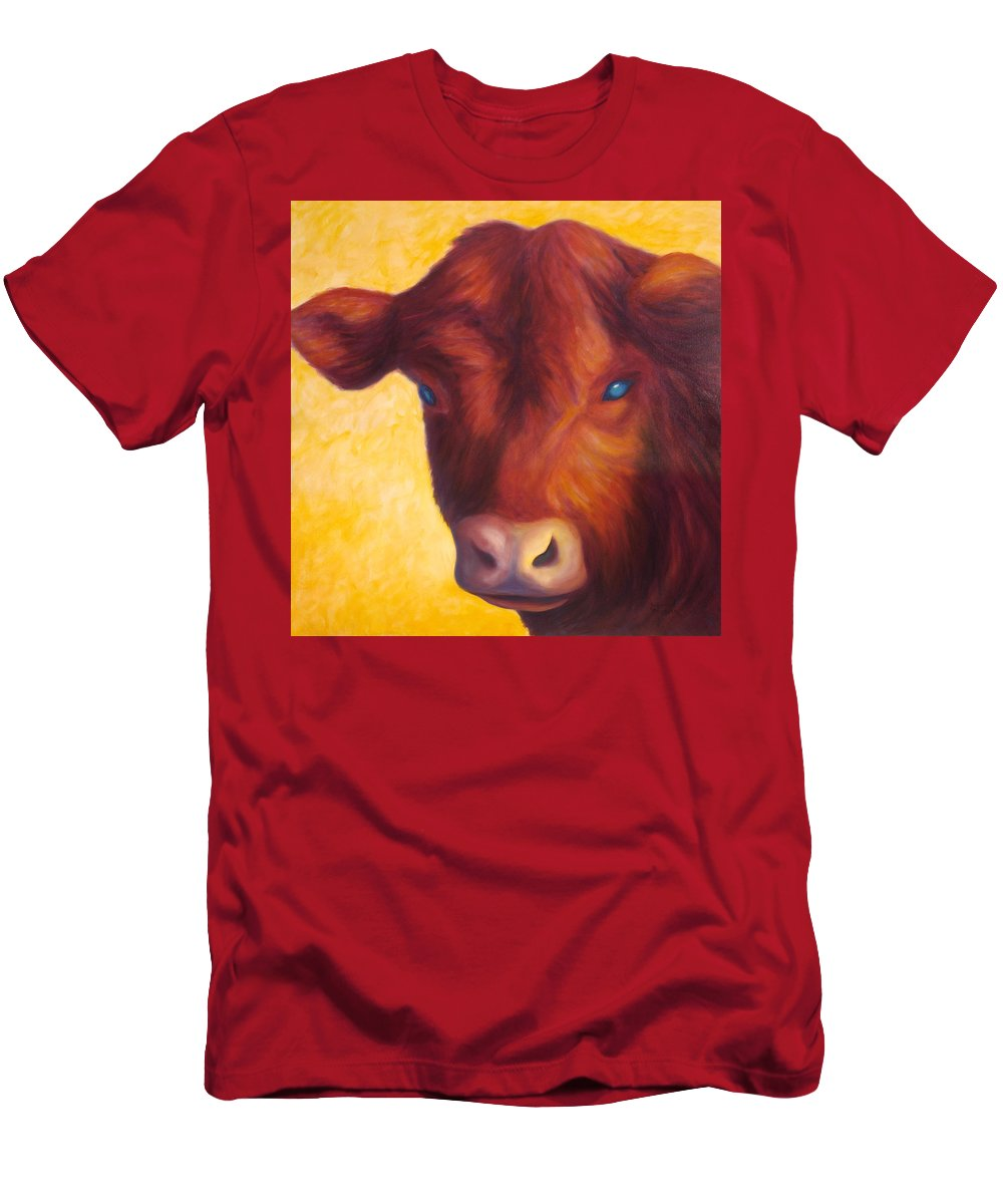 Bull Men's T-Shirt (Athletic Fit) featuring the painting Vern by Shannon Grissom
