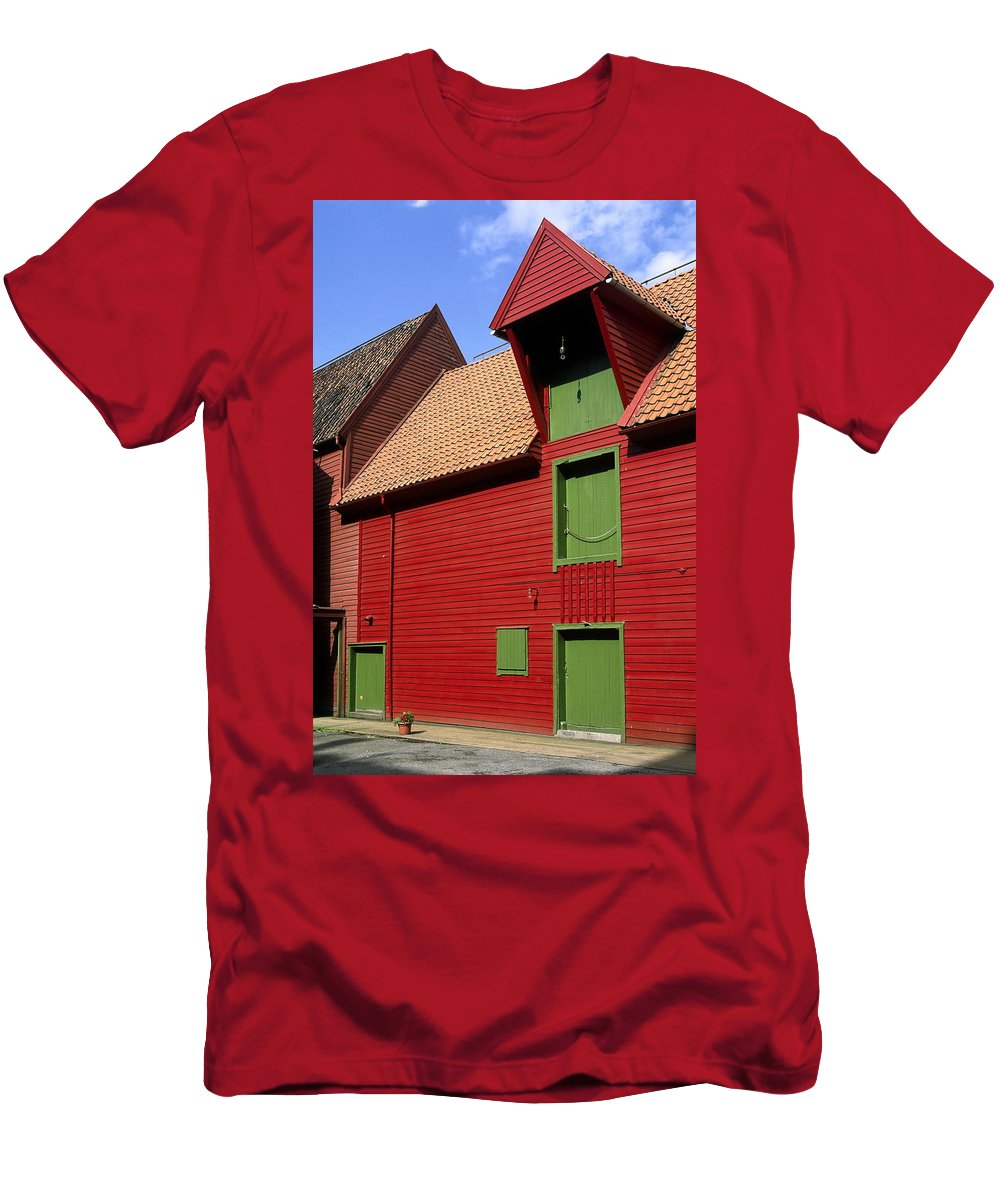 Vibrant Red & Green Building T-Shirt featuring the photograph Vibrant Red And Green Building by Sally Weigand