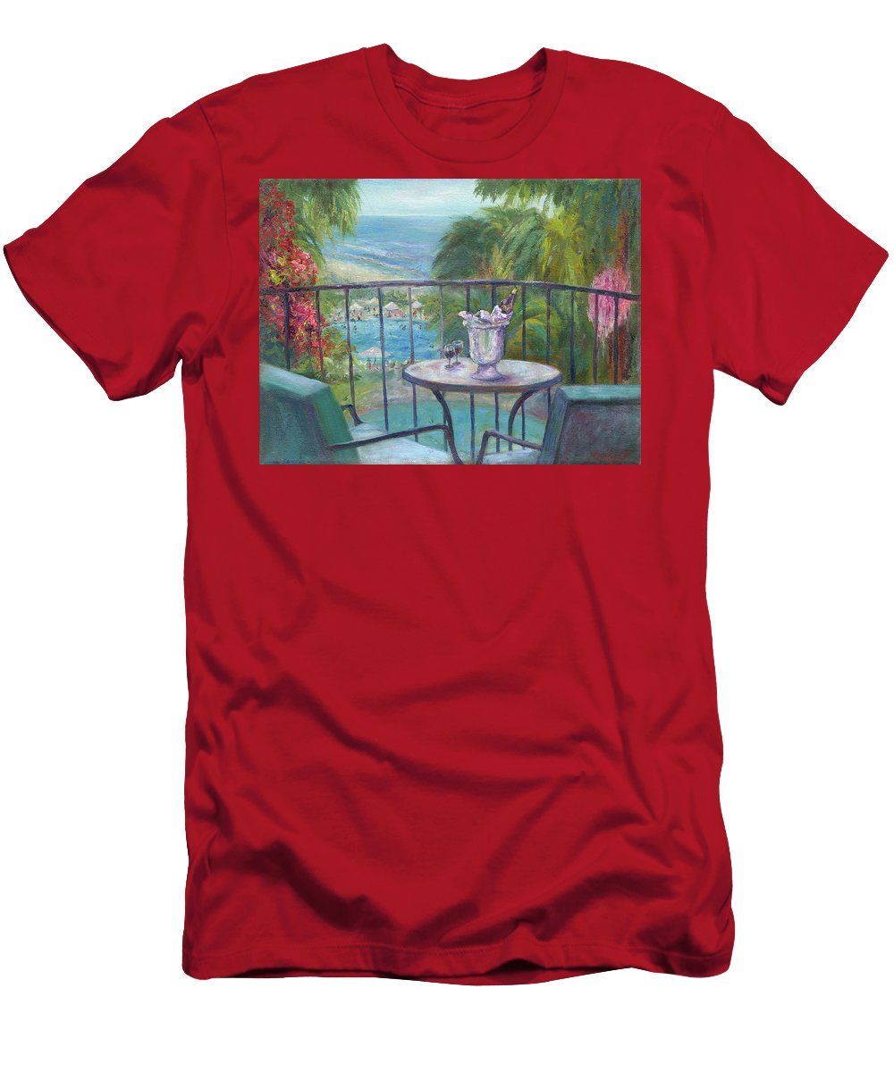 Landscape Men's T-Shirt (Athletic Fit) featuring the painting View From The Balcony by Carolyn Paterson