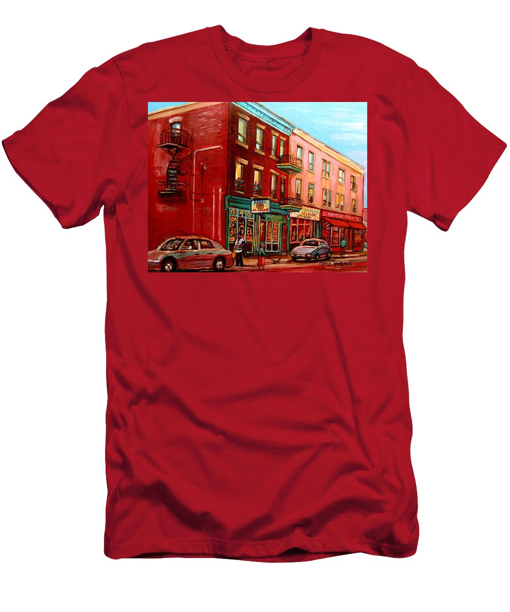 St Viateur Bagel Shop Montreal Street Scenes Men's T-Shirt (Athletic Fit) featuring the painting Vintage Montreal by Carole Spandau