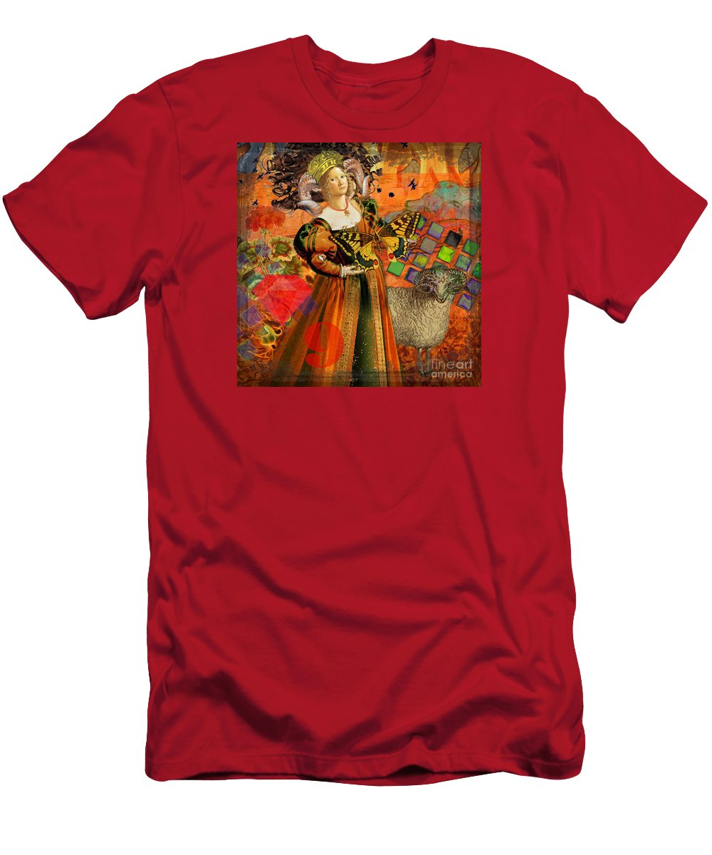 Doodlefly T-Shirt featuring the digital art Vintage Taurus Gothic Whimsical Collage Woman Fantasy by Mary Hubley