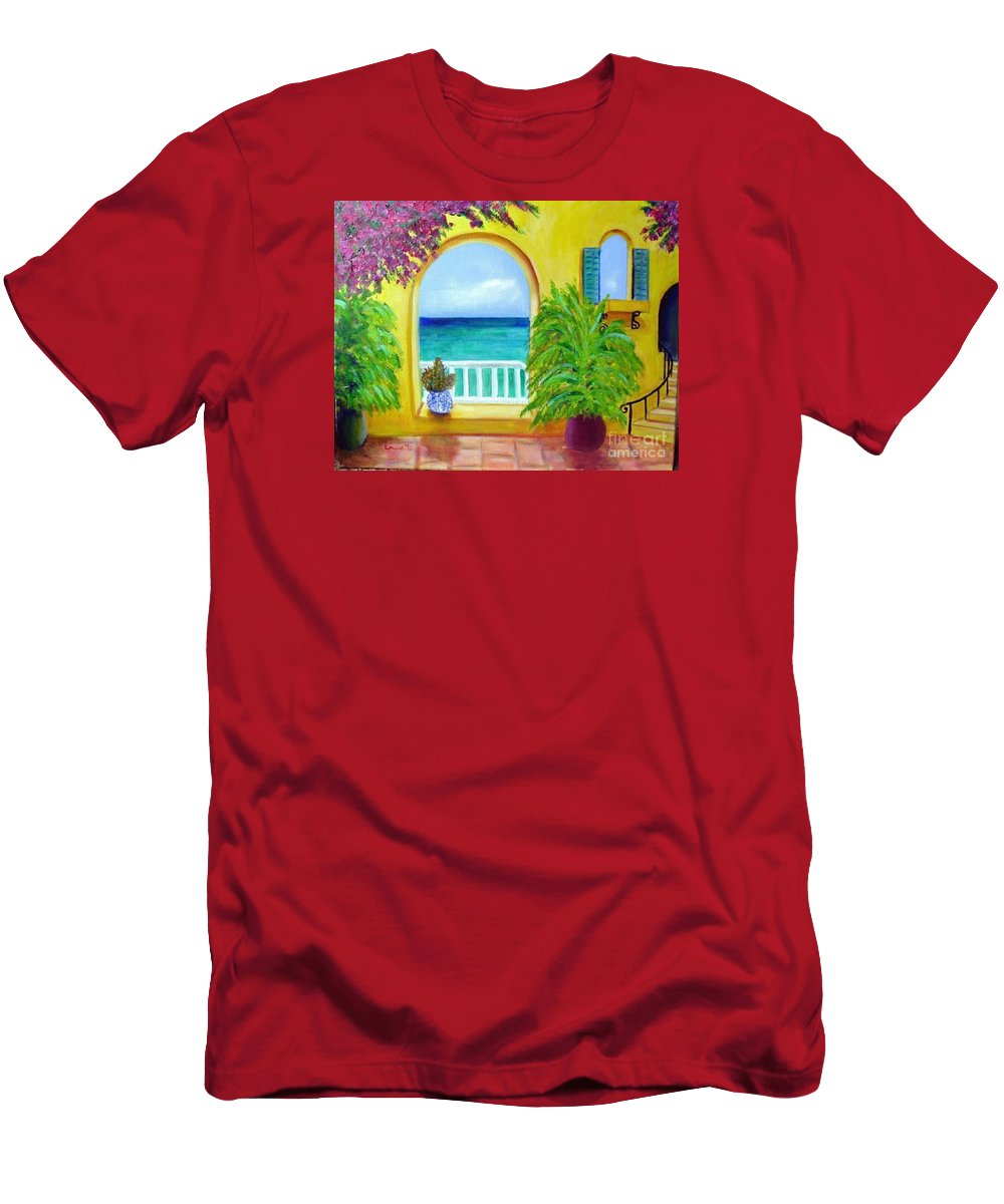 Patio T-Shirt featuring the painting Vista Del Agua by Laurie Morgan