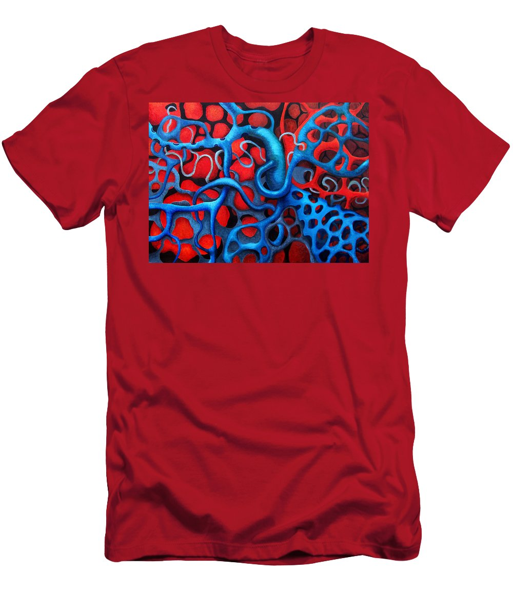 Abstract Men's T-Shirt (Athletic Fit) featuring the painting Vital Network 2 by Nancy Mueller