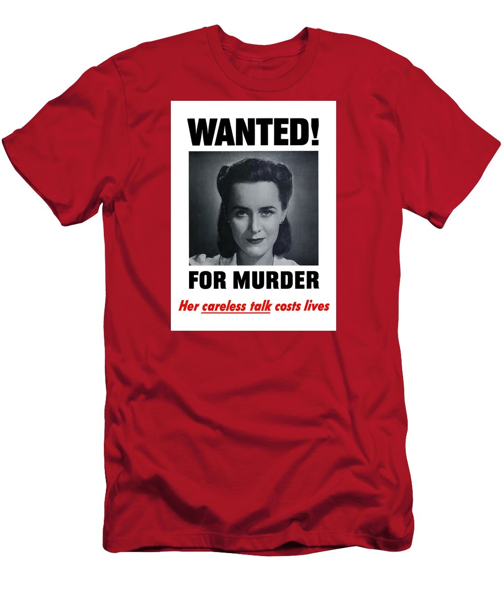 Wanted For Murder Men's T-Shirt (Athletic Fit) featuring the painting Housewife Wanted For Murder - Ww2 by War Is Hell Store