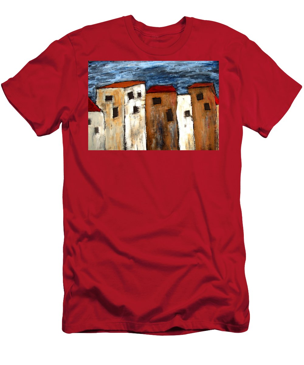Acrylic Men's T-Shirt (Athletic Fit) featuring the painting Warehouse Row by Wayne Potrafka