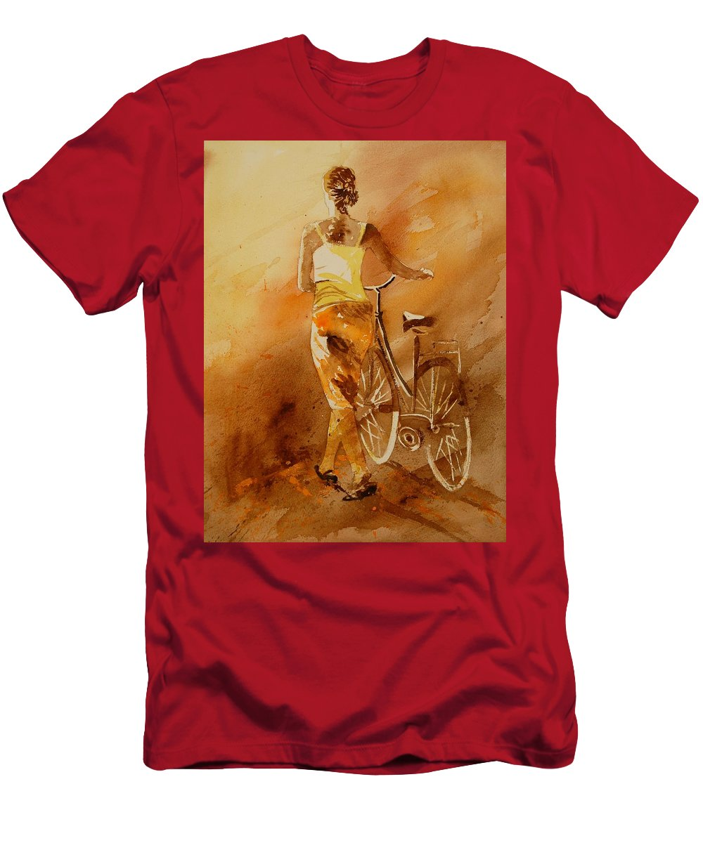 Figurative T-Shirt featuring the painting Watercolor With My Bike by Pol Ledent