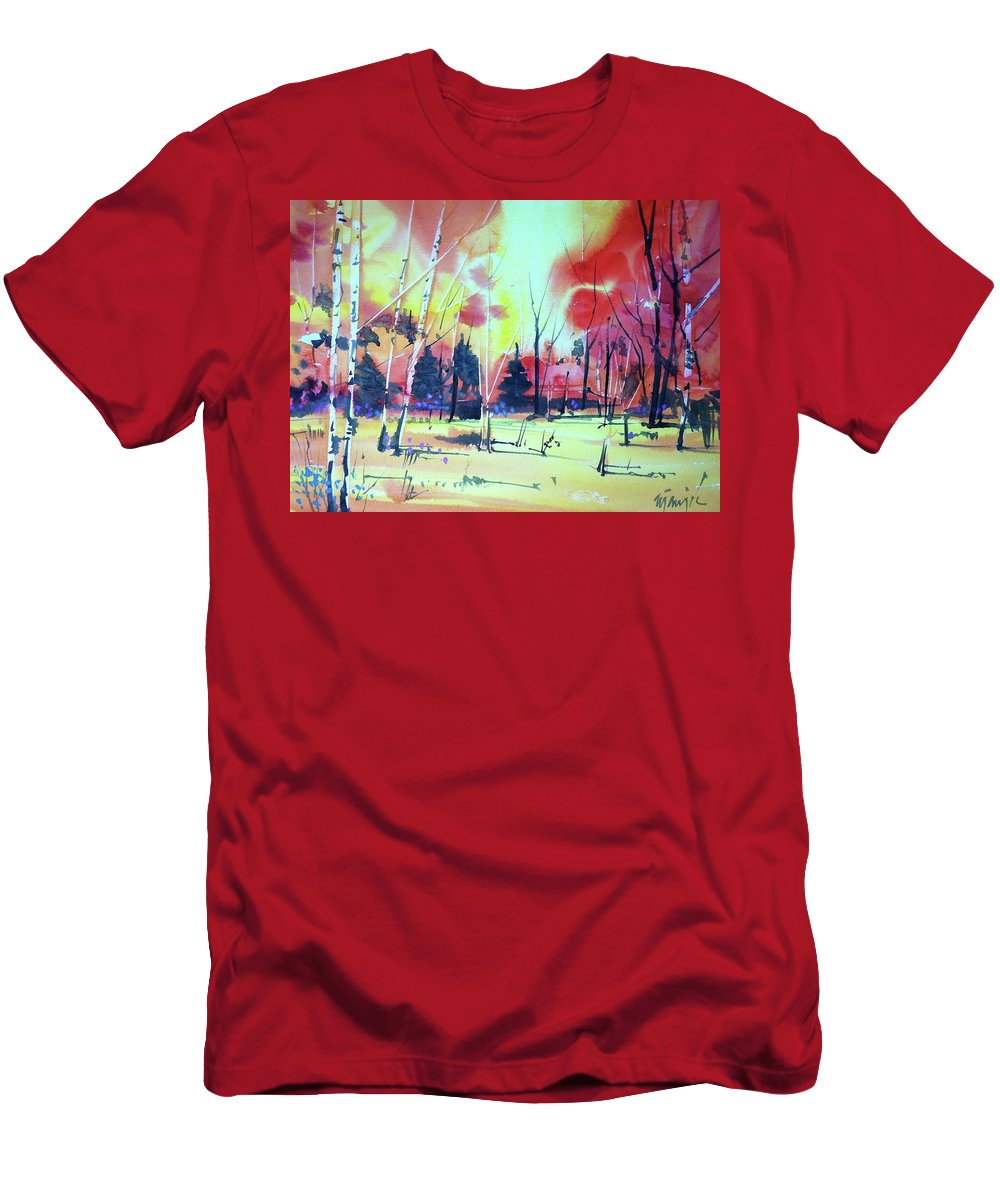 Colorado Landscape Men's T-Shirt (Athletic Fit) featuring the painting Watercolor4632 by Ugljesa Janjic
