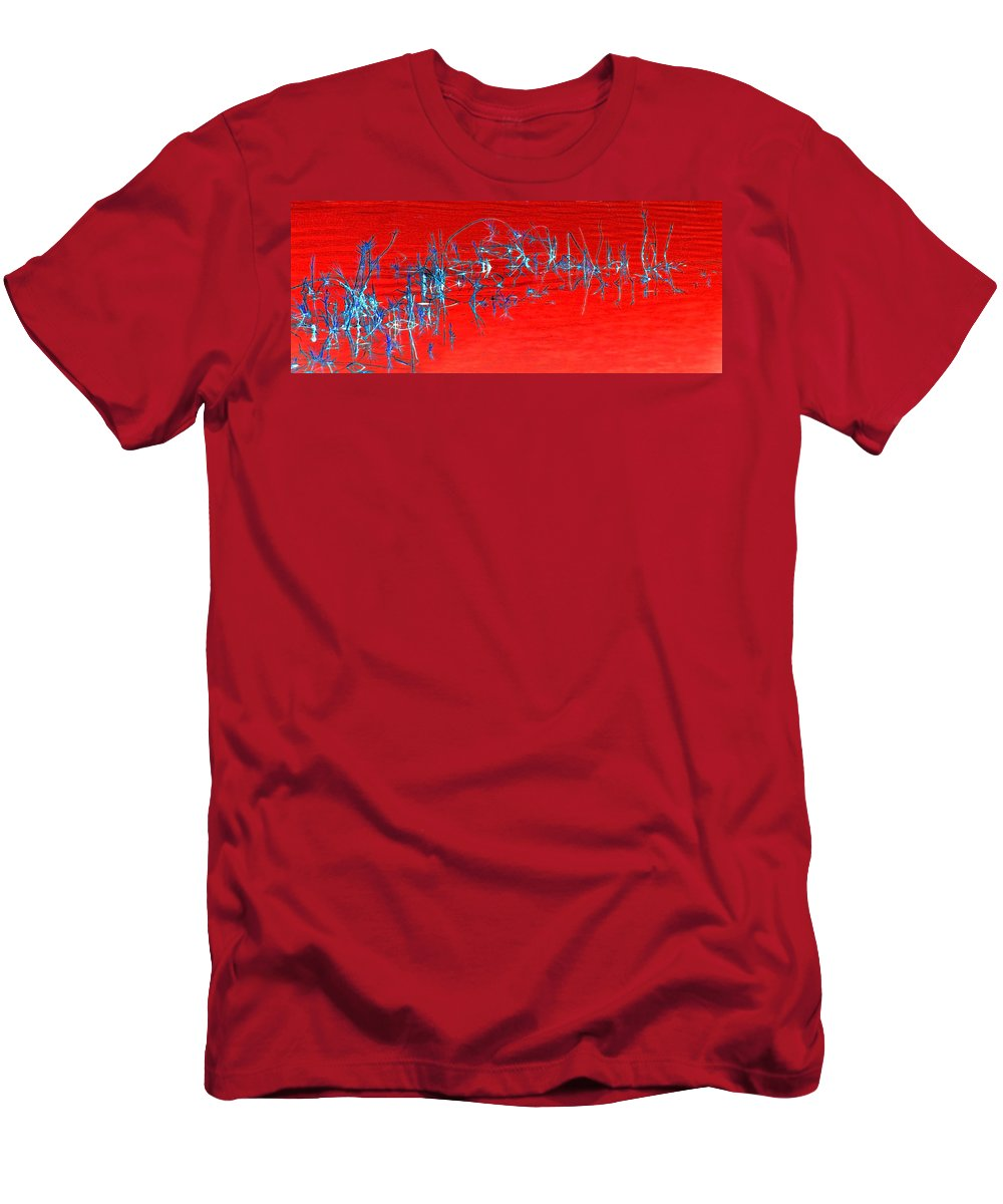 Abstract Red Weeds Water Men's T-Shirt (Athletic Fit) featuring the photograph Weeds Abstract by Francesa Miller